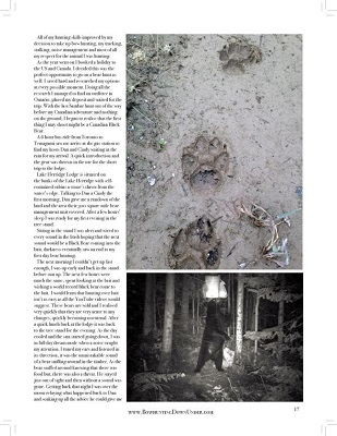 page two of article with photos of bear tracks and bear