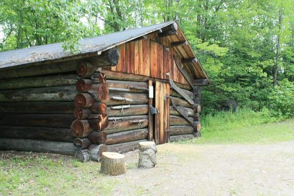 photo of log building in forest setting