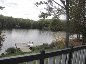 view of lake from cottage one sundeck