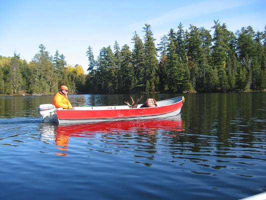 photo of man in boat with harvested moose